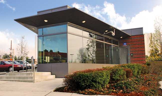 Exterior photo of Community Transit's RideStore located at Lynnwood Transit Center