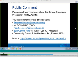 A screenshot from Community Transit March 14, 2017 Virtual Public Meeting recording