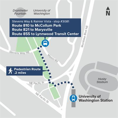 Map Showing UW Station and Northbound Routes 810, 821, 855