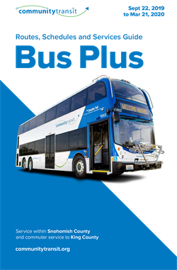 September 22-March 21 2020 Cover of Bus Plus Schedule Book