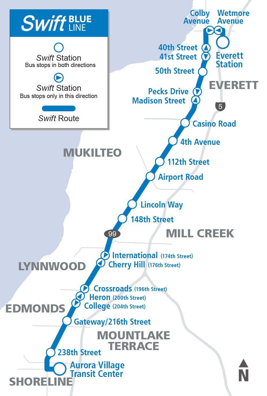 Swift Blue Line System Map