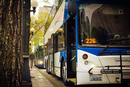 Community Transit buses line up in downtown Seattle