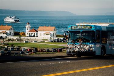 Community Transit Bus with Mukilteo Lighthouse in the background