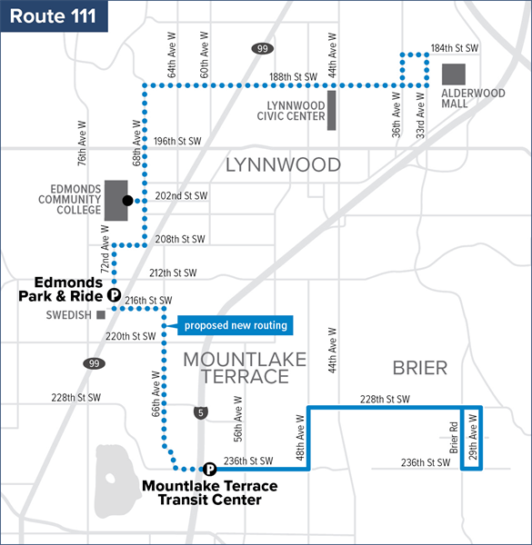 Proposed Route 111 for September 2020 Service Change