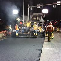 Paving the newly created eastbound bus lane