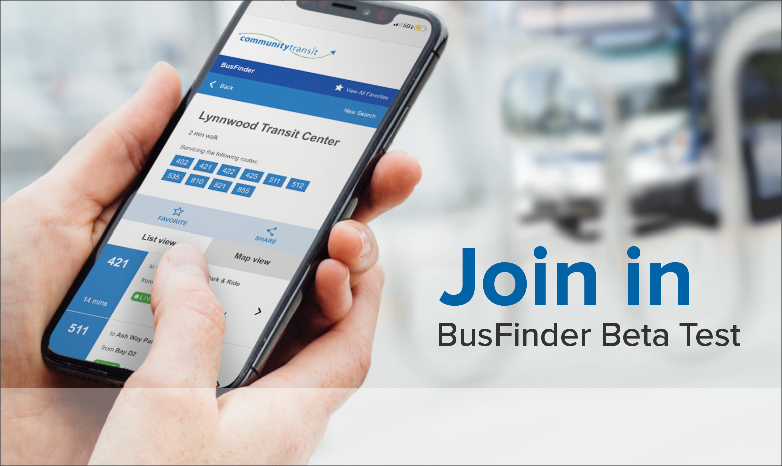 BusFinder BETA - Try our real-time transit info app