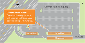 Canyon Park Park and Ride Map for Construction August 2018