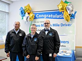Two million mile driver Ken Sahota, and million mile drivers Jennifer Strohm and Rocky Cazares were honored for safe driving. Not pictured: Tajinder Mahal and Thomas Rairden.