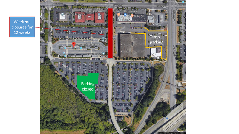 Lynnwood Transit Center Map Showing Temporary Parking and Detours During Link Construction
