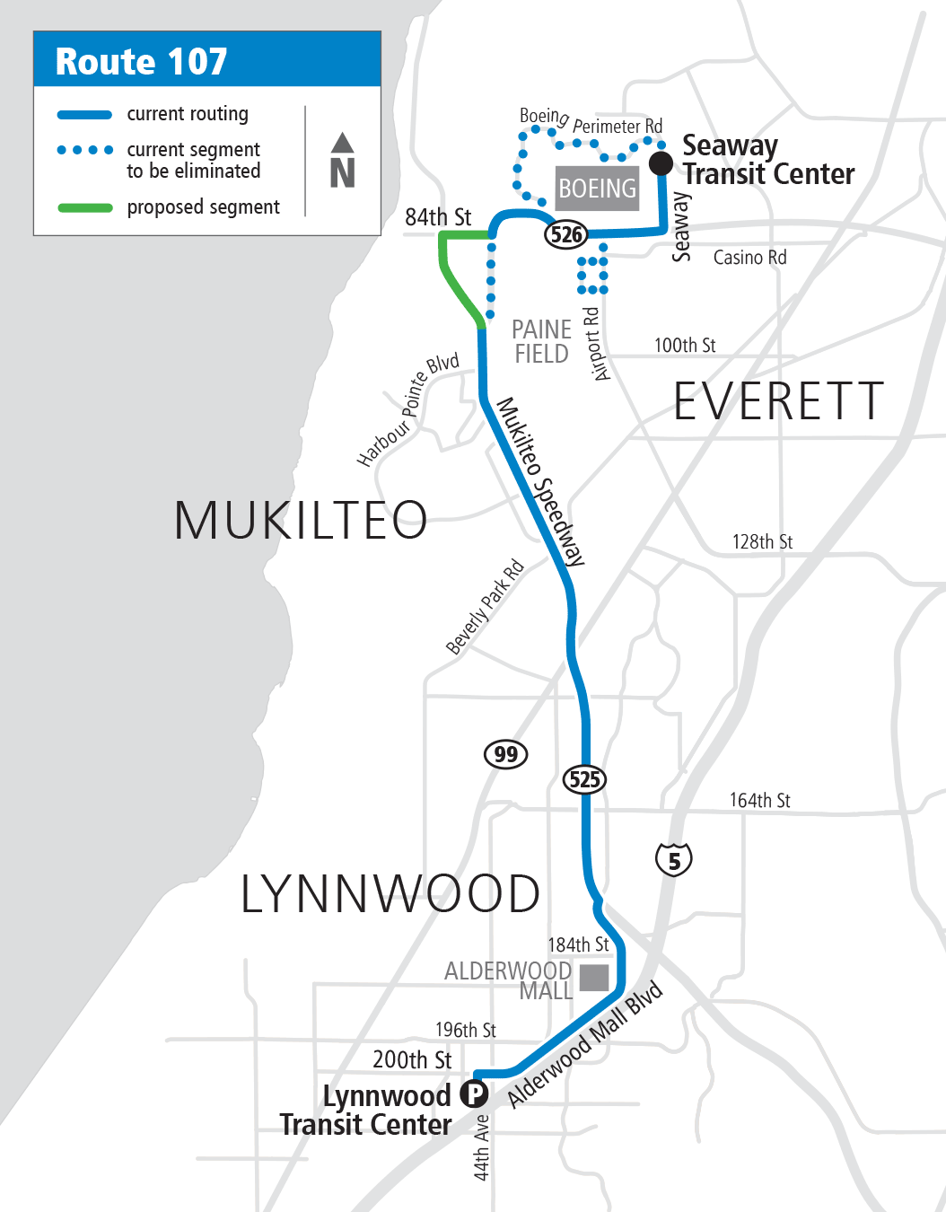 Map Route 107 Proposed