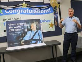 Harnisch accepts Three Million Mile award