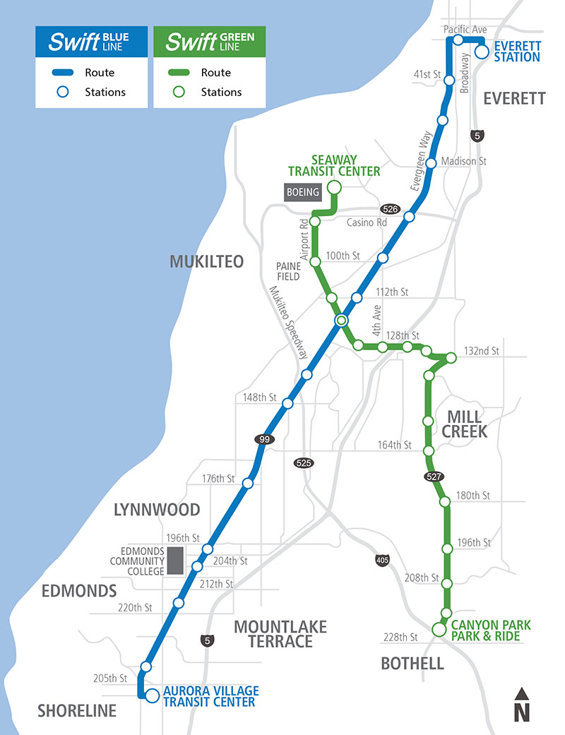 Swift Blue and Green Line Map