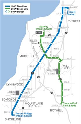 Community Transit's Swift Bus Rapid Transit Network Map
