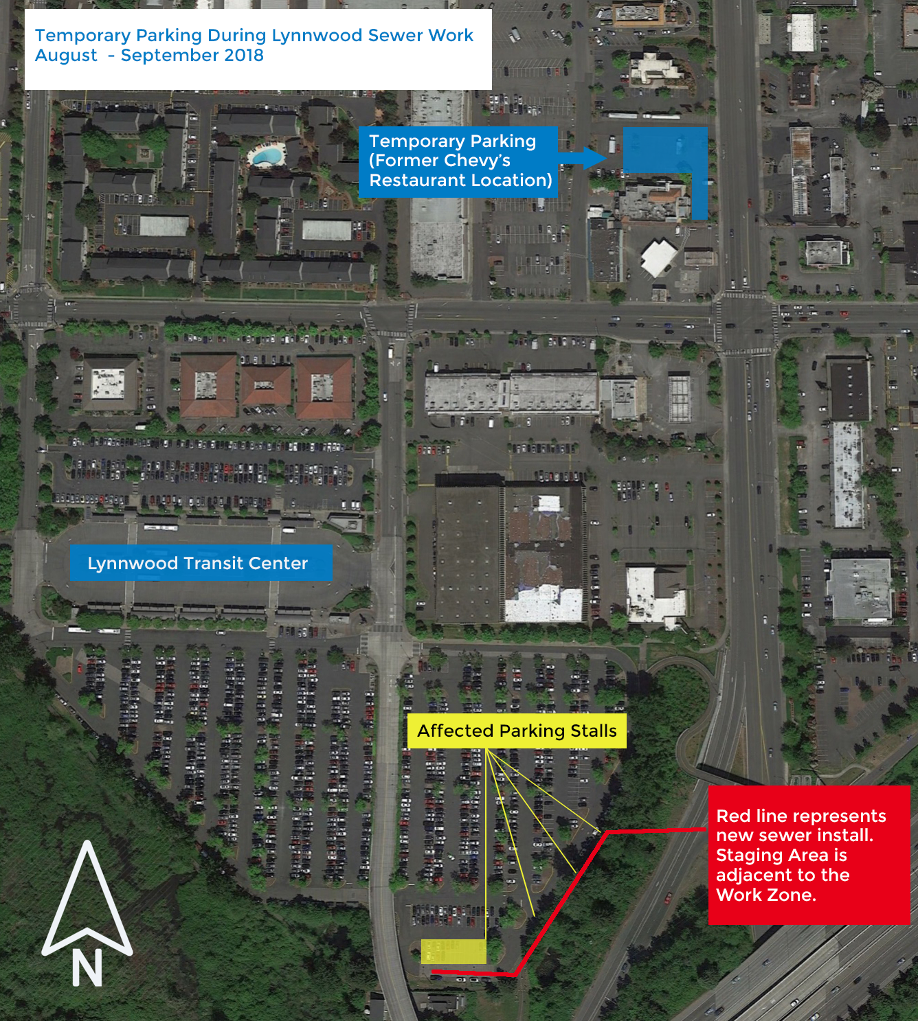 Map showing temporary parking during Lynnwood Transit Center construction