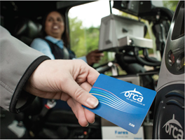 A passenger pays their fare with an ORCA Card