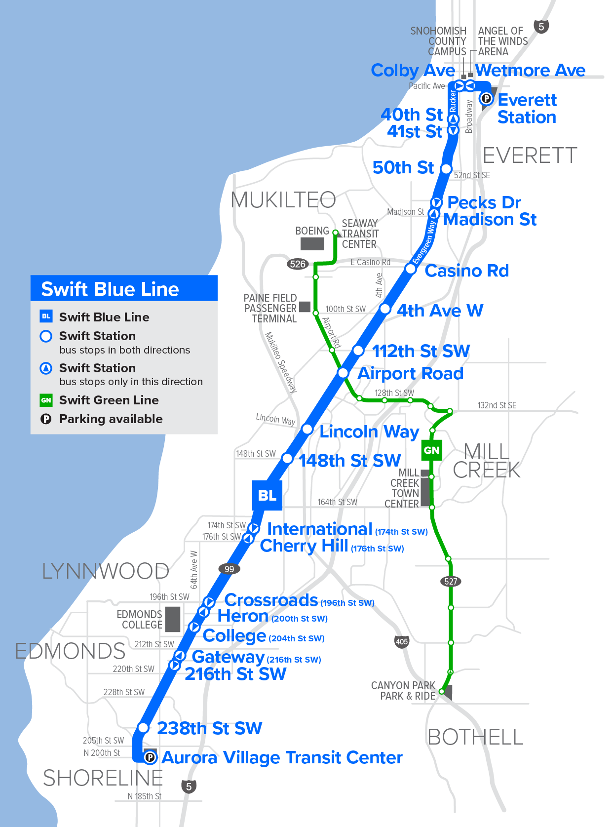 A map of the Swift Blue Line route.