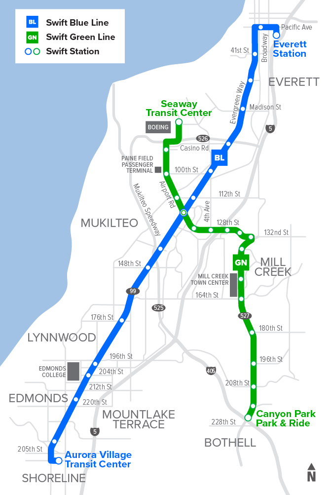 A map of the Blue and Green Swift bus routes. The Blue Line route spans Highway 99 from Aurora Village in Shoreline up to Everett Station. The Green Line runs along Highway 527 between Canyon Park & Ride to Seaway Transit Center near Paine Field in Everett.