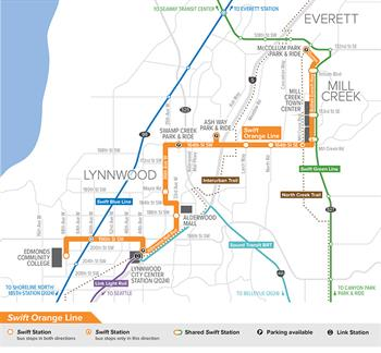 Map of new Swift Orange Line, which will open in 2024
