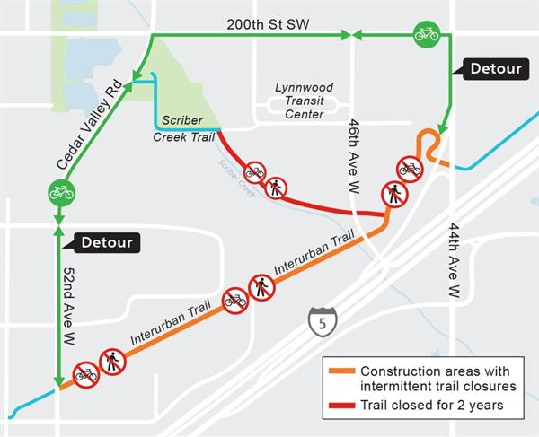 Map of interurban and scriber creek trail closures