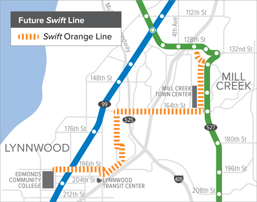 A map of the planned Swift Orange Route.